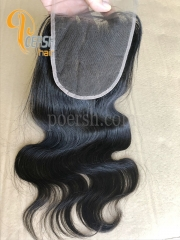 8A Top Quality 1B Natural Black Color Body Wave 100% Unprocessed Raw Virgin Human Hair Free Part 5×5 Lace Closure