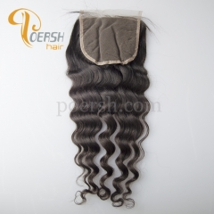8A Top Quality 1B Natural Black Color Italy Curly 100% Unprocessed Raw Virgin Human Hair Free Part 4×4 Lace Closure